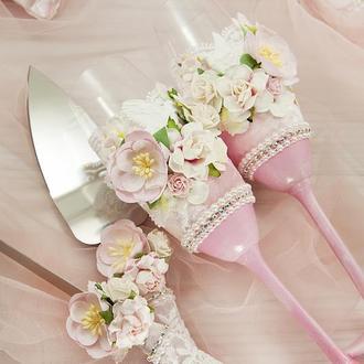 Свадебные бокалы нежно-розовые / Бокали рожеві / Бокали для весілля / Бокалы для молодожонов