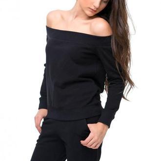 Черный свитшот с открытыми плечами, размер XS