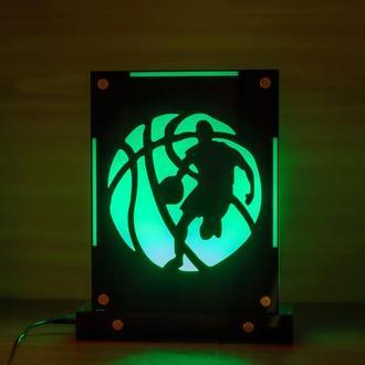 Декоративный настольный ночник Баскетболист, теневой светильник, несколько подсветок,