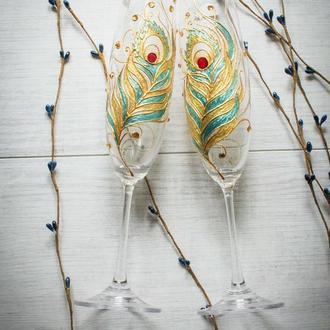 """Свадебные бокалы """" Перо жар-птицы"""""""