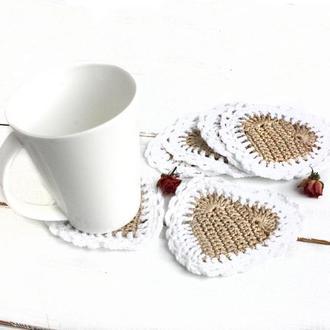 Вязаные подставки под чашки Салфетки сердечки под кружки в стиле кантри Эко декор для столовой