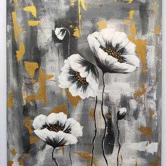 """Картина акрилом """"Белое и черное"""" 40×50 см,  Современная живопись"""