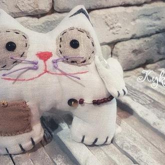 Тактильная игрушка кот из натуральной ткани!