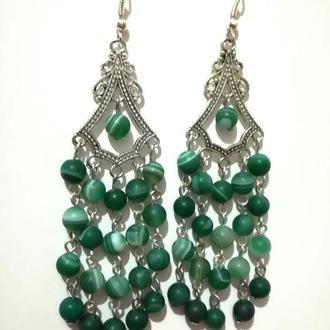 Серьги из Агата натуральный камень цвет зеленый, тм Satori \ S - 0001