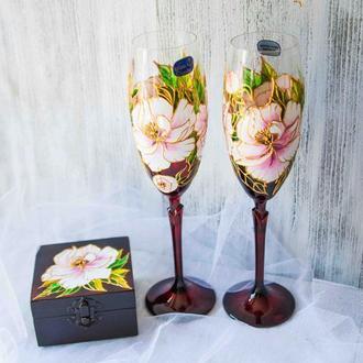 Свадебные бокалы из богемского стекла ′Pion marsal′ со шкатулочкой для колец