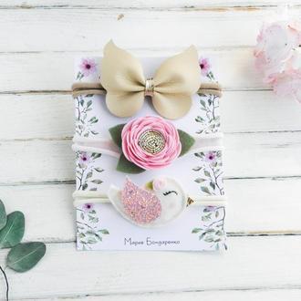 Подарочный набор повязок для девочки / Красивые повязки для малышки / Подарунок дівчинці