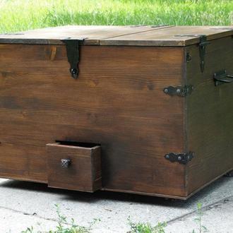 Деревянный сундук- винный шкаф трансформер( плюс оригинальный кофейный столик!)