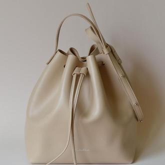 Бежевая сумка-мешок