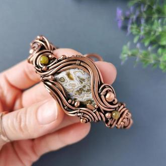Медный браслет с яшмой и агатом. Фэнтезийное украшение. Подарок на медную свадьбу