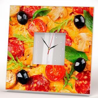 Интерьерные часы с декором Пицца для кухни, кафе, ресторана