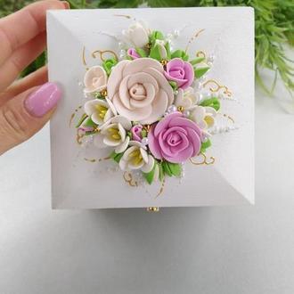 """Свадебная коробка, шкатулка для колец """" Мечта"""" в цвете пудра и розовый"""