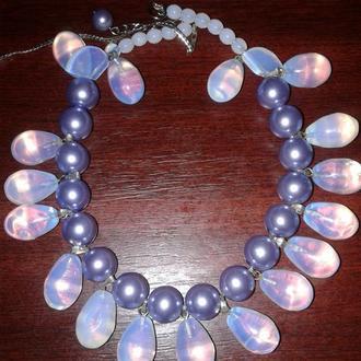 Ожерелье с лунным камнем и жемчугом - майорка.