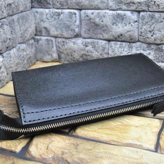 Большой кожаный кошелек на молнии KLH02-black