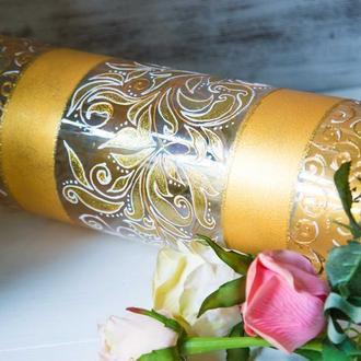 Ваза стеклянная цилиндр ′Золото′