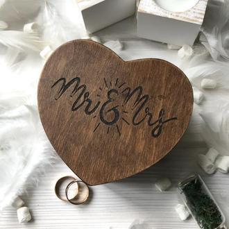 Шкатулка сердце Mr&Mrs Золотая