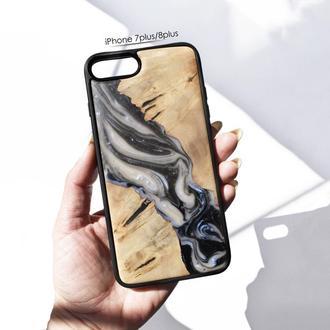 Деревянный чехол из натурального дерева и эпоксидной смолы для iPhone 7 8 plus