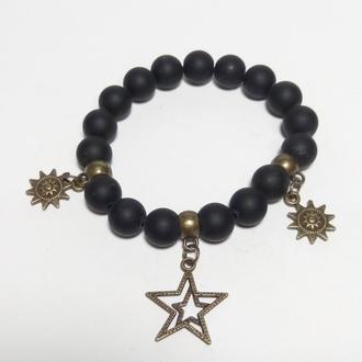 Браслет Шунгит натуральный камень, цвет черный, бронза, тм Satori \ Sb - 0022