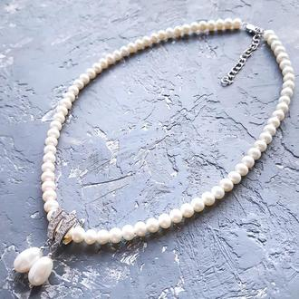 Комплект з натуральних перлів намисто та сережки бусы и серьги из натурального жемчуга