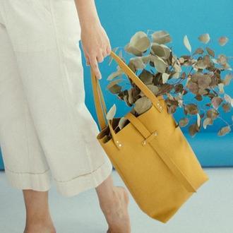 Стильный кожаный шоппер (желтый), женская сумка из натуральной кожи, горчичная сумка ноут