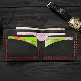 Мужской кожаный бумажник VOILE mw2-blk-red черный