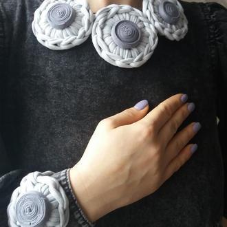Чокер з браслетом из трикотажной пряжи/колье подвеска кулон ожерелье вязаная бижутерия /