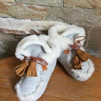 Детские пинетки-мокасины из натуральной овчины