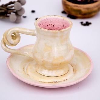 Чашка для кофе с блюдцем. Перламутр