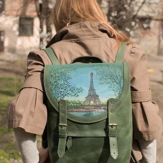 Большой городской зеленый кожаный рюкзак с росписью