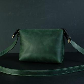 Кожаная сумка, сумочка Лето, кожа Crazy Horse, цвет Зеленый