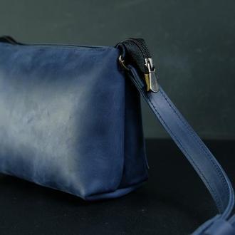 Кожаная сумка, сумочка Лето, кожа Crazy Horse, цвет Синий