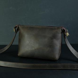 Кожаная сумка, сумочка Лето, кожа Crazy Horse, цвет Шоколад