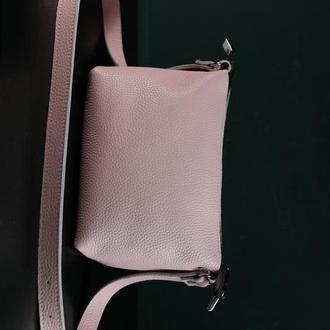 Кожаная сумка, сумочка Лето, кожа Флотар, цвет Пудра