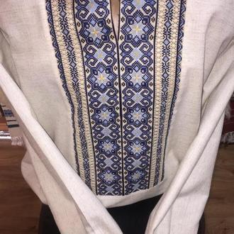 Стильная мужская вышиванка на сером льне. Рубашка. TM SavchukVyshyvka