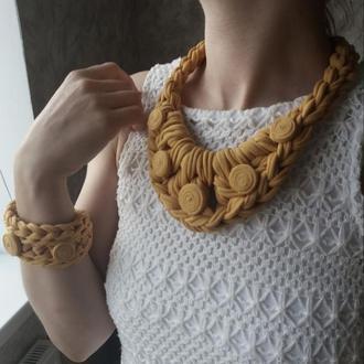 Колье з браслетом /чокер ожерелье подвеска кулон бижутерия аксессуар украшение на шею/