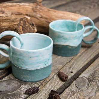 Парные кофейные чашки для влюбленных с кольцами 200 мл, 2шт