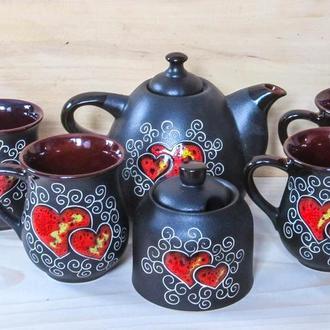 """Чайный набор Капля на 4 персоны, декор """"Сердце"""" черный с сахарницей"""