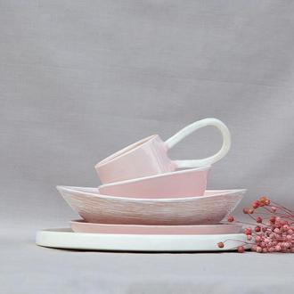 Большой розовый салатник из коллекции «Соната Пинк»
