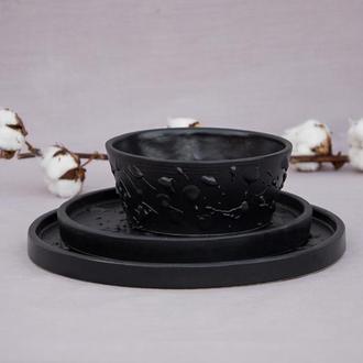 Набор черной посуды  3 предмета(Пиала+2 разных тарелки)