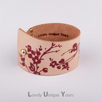Кожаный браслет LUY N. 9 FLORAL бордо. Браслет из натуральной кожи