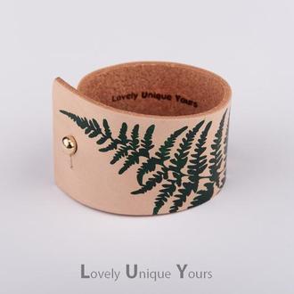 Кожаный браслет LUY N. 9 FERN зеленый. Браслет из натуральной кожи