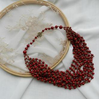 Красные керамические бусы , красные многорядные бусы , бусы из красного керамического жемчуга