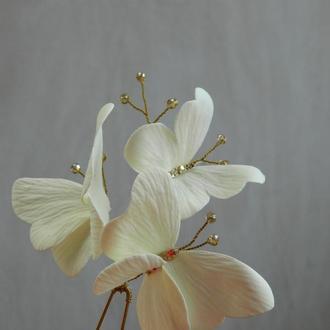 Шпилька с бабочками айвори