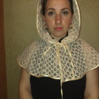 платок для храма, венчальный капор, кружево