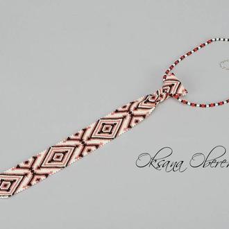 Бисерный галстук с украинским орнаментом