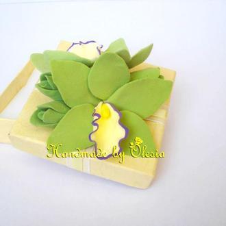 Эксклюзивная Свадебная Подарочная Коробочка с Реалистичными Орхидеями