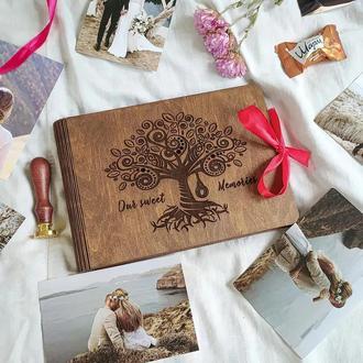 Фотоальбом из дерева - подарок мужу, жене, друзьям | подарок на свадьбу, годовщину