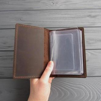 Кожаная обложка на комплект автодокументов с прозрачными вкладышами_шоколад