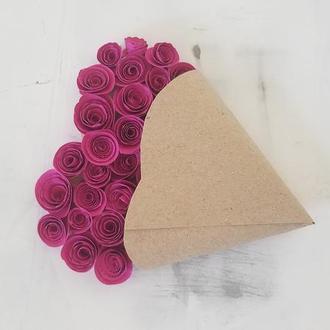 Темно-малиновые свадебные приглашения в форме сердца. Ручная работа. Набор 20шт