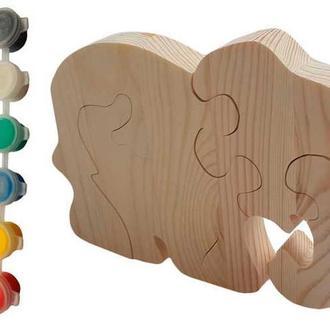 """Пазл из дерева """"Слон"""" с красками"""