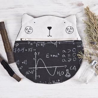 Круглая косметичка котик. Тканевый пенал для карандашей черный кот